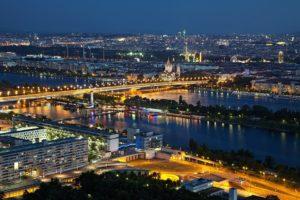 Vienna city landscape at night