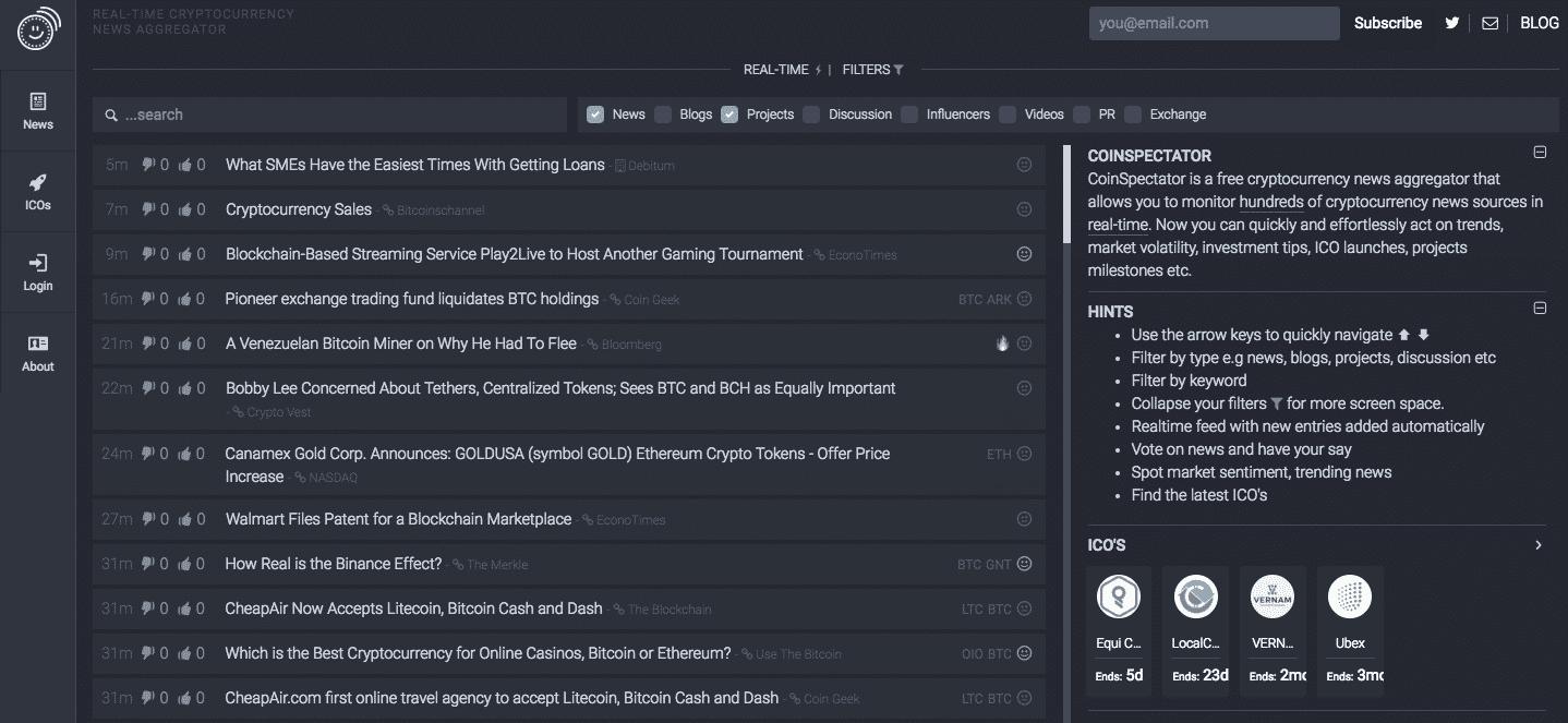 CoinSpectator – Real Time News Aggregator Platform