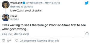 Vitalik Buterin, Ethereum's founder, saying to Zooko Wilcox and developers to make Zcash Proof-of-Stake (PoS)