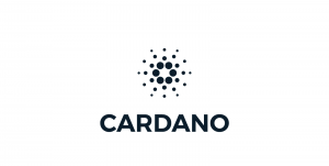Cardano logo in black letters with white background