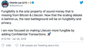 Charlie Lee Tweet explaining what is Litecoin privacy implementation called Confidential Transactions