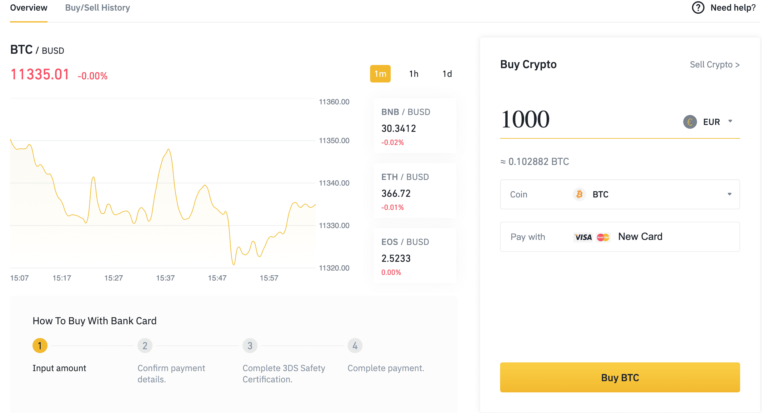 Binance image on how to buy Bitcoin with euro