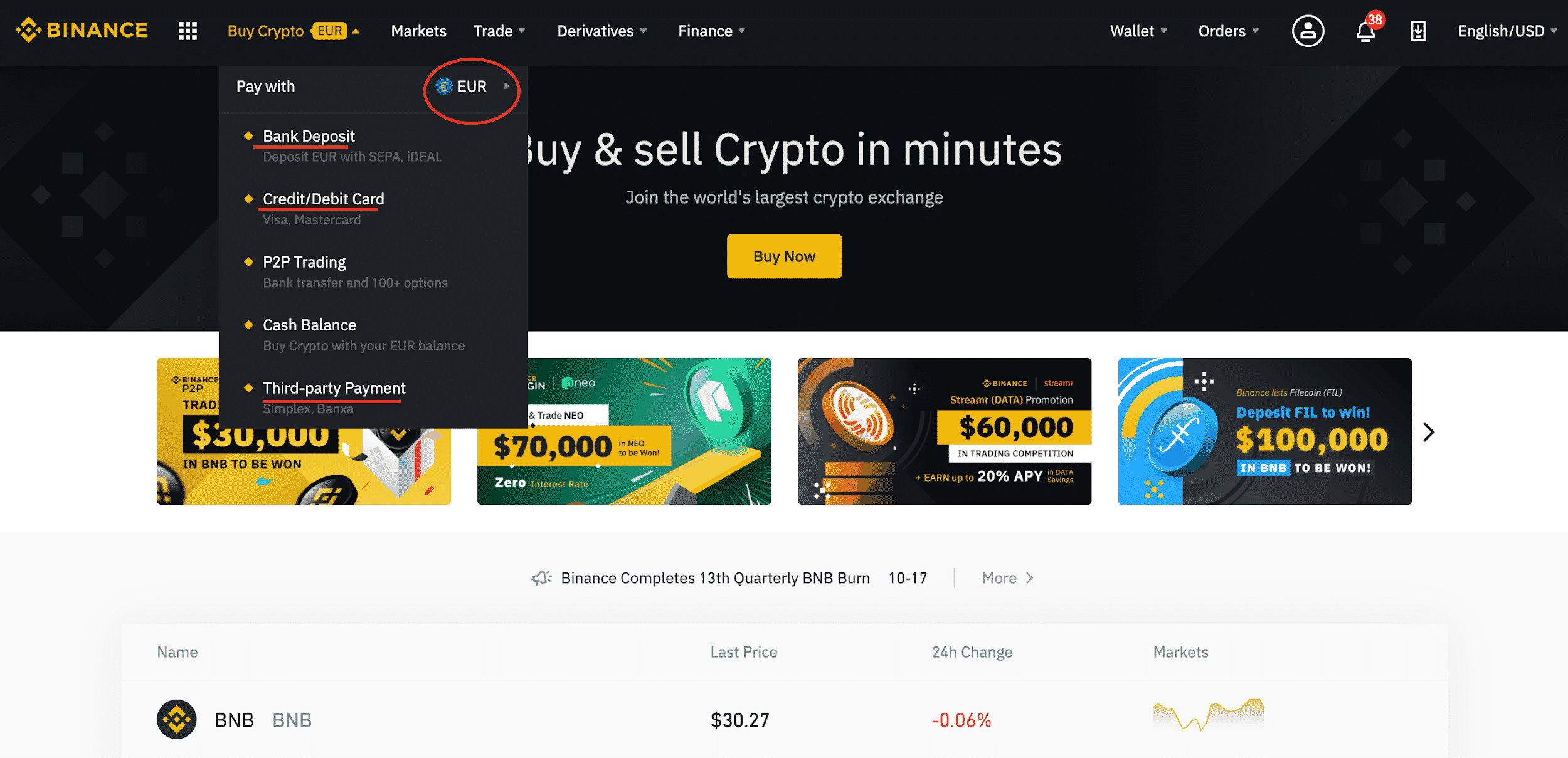 Official Binance website showing how to buy Bitcoin with Euro