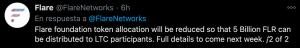 Flare Network tweet about FLR distribution among LTC participants