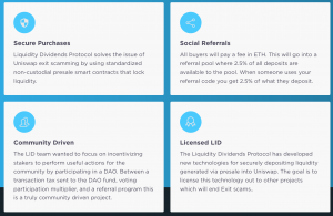 Some of the features of the Liquidity Dividends Protocol platform to fight against DeFi scams